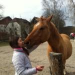 Ein Mädchen steht einem hellbraunen Pferd gegenüber und küsst es auf die Nüstern.