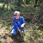 Ein Junge kniet im Wald auf dem Boden. In seinen Händen hält er einen kleinen, grünen Spaten.