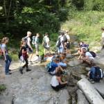 Eine Gruppe Jugendlicher ist auf einer Wanderung in der Natur. Sie machen an einem kleinen Bächlein halt. Einige der Jugendlichen knien am Bach und halten ihre Hände ins Wasser.