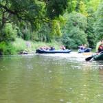Drei Schlauchkanus fahren auf einem einem Fluß. Die Ufer sind grün, voller Bäume und ein wenig verwachsen.